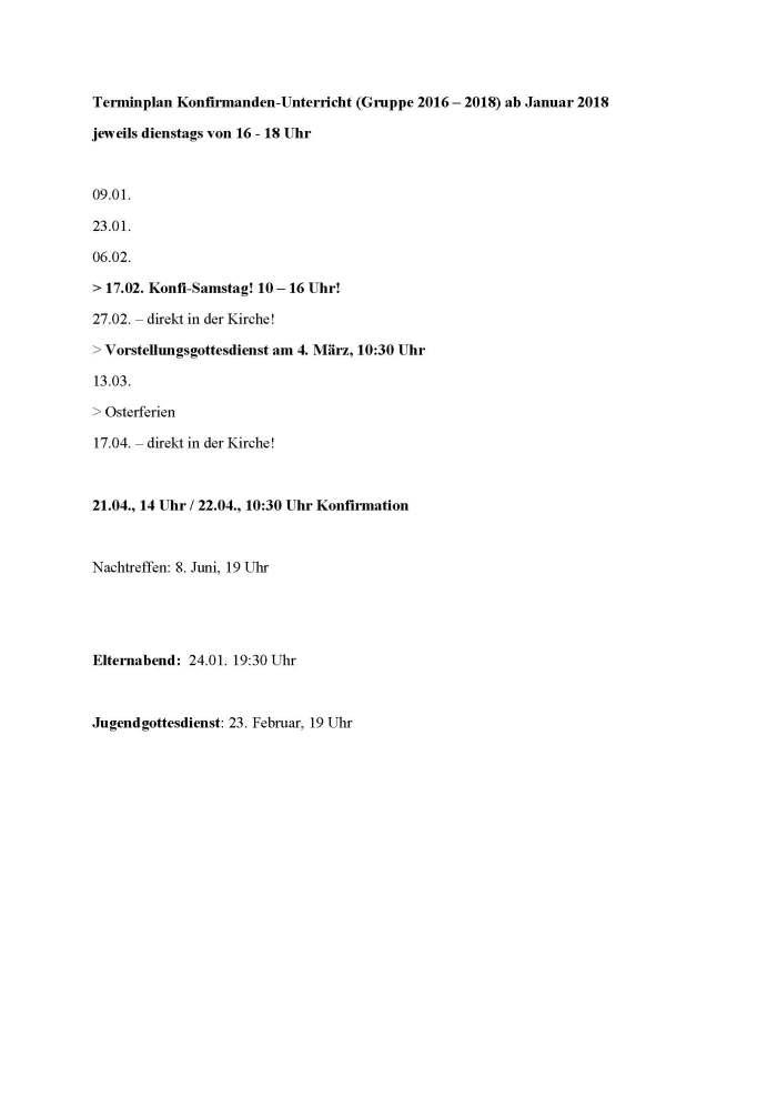 Terminplan Konfirmanden-Unterricht ab Januar 2018